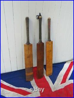 Three High Quality English Antique Vintage Wooden Cricket Bats Wall Art Display