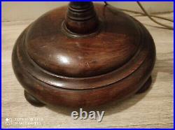 Traditional English Vintage Oak Floor Standing Standard Lamp Companion Table