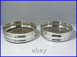 Two Large Vintage English Sterling Silver Wine Coasters