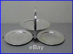Unusual Vintage English Silver Plate 3-tier Folding Dessert Tray