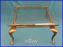 VINTAGE 50s ENGLISH BRASS COCKTAIL COFFEE TABLE With GLASS TOP