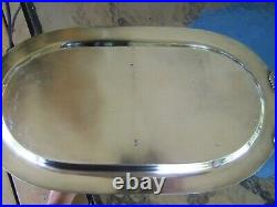 VINTAGE ENGLISH SILVER HANDLED DRINKS or SANDWICH WAITER TRAY GADROON ROPE EDGE