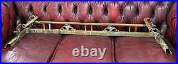 VTG Antique Brass Fireplace Gate Fence Style Design Curb Hearth Fender