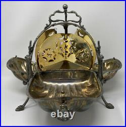 VTG SilverPlate English Italy Eales Tri Fold clam shell bun warmer biscuit box