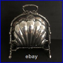 VTG Walker & Hall SilverPlate English Fold clam shell bun warmer biscuit box
