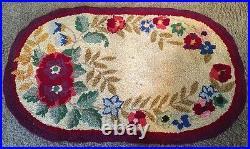 Vintage 1930's Floral Hand Hooked Folk Art Oval Wool Area Rug 35.5 x 22