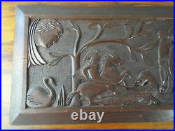 Vintage 1930s Wooden English Oak Carving Panel Wall Art Sampler Rustic Decor