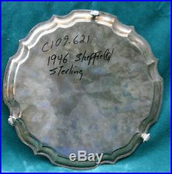 Vintage 1946 Sterling Silver English 12 Diameter Salver / Tray MAGNIFICENT