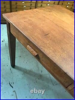 Vintage 1950s English Oak School Head Teachers Desk Library Table Dining
