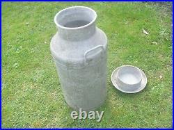 Vintage Aluminium 10 Gallon Milk Churn With Lid. Garden Planter, Wedding, Display