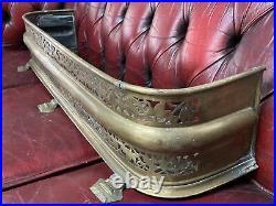 Vintage Antique Brass Curved Fireplace Grill Style Design Fender Size In Desc