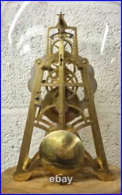 Vintage Antique English 19th 8Day Fuse Skeleton Time Piece Mantel Clock Art Deco