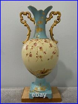 Vintage Antique English Ceramic Blue & Yellow Vase with Flowers Decoration