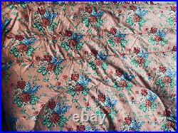 Vintage Antique English Cotton Double Feather Down Pink Roses Eiderdown Quilt