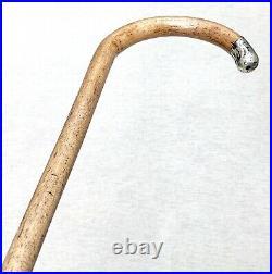 Vintage Antique English Hallmarks Sterling Silver Crook Walking Stick Cane Old