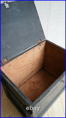Vintage Antique English Mahogany Painted Black Chest Trunk From Eltham