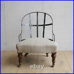 Vintage Antique English Victorian Iron Back Slipper Chair By Cornelius V Smith