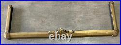 Vintage Antique Heavy Brass Extendable Fireplace Hearth Surround Fender