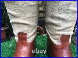 Vintage / Antique Leather & Canvas English Riding Safari Boots With Wooden Trees