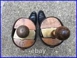 Vintage / Antique Leather English WW1 Captains Riding Boots Wood Brass Trees
