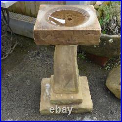 Vintage Antique Reclaimed Carved Stone Sandstone Bird Bath Rwi5082