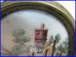 Vintage Battersea Enamel Porcelain English Countryside Tiebacks Drawer Pulls