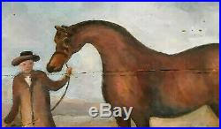 Vintage Blanket Chest Painted Equestrian English Country Horses So Ralph Lauren