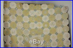 Vintage Block quilt topper embroidered Ramsgate heraldry English linen
