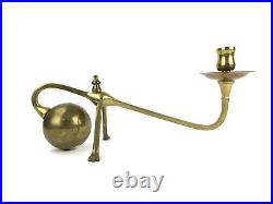 Vintage Brass Candleholder Sarreid Ltd. Benson Style Counterbalance Ball