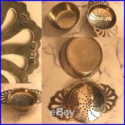 Vintage C. S Vander English Sterling Silver Tea Strainer 2 Pieces Set