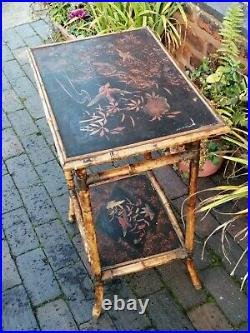 Vintage C1890 W F Needham ENGLISH Chinese-style bamboo table wi painted shelves