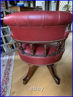 Vintage Captain's Chair, English, Leather, Desk, Victorian Revival, Circa 1960