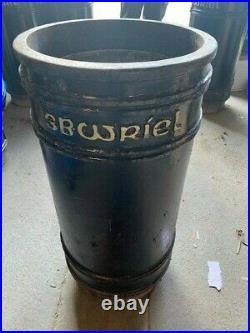 Vintage Cast Iron Litter Bin Rubbish Bin with liner Welsh & English Sbwriel