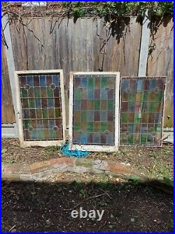Vintage Coloured Stained security Glass Panel old English art