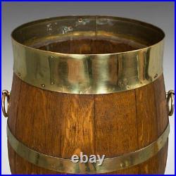 Vintage Coopered Hallway Barrel, English, Oak, Brass, Stick, Umbrella, Stand