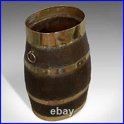 Vintage Coopered Stand, English, Oak, Barrel, Stick, Umbrella, 20th Century