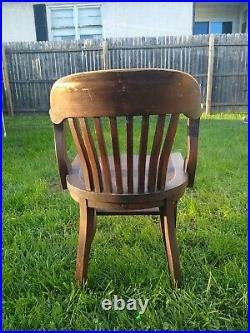 Vintage Court House Bank Lobby Oak Office Chair. B. L. Marble Chair Co. 1950s