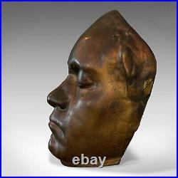 Vintage Death Mask, English, Bronze, Memento Mori, 20th Century, Circa 1960