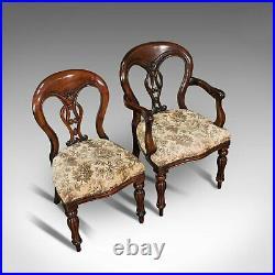 Vintage Dining Chair Set, English, Mahogany, Carver, 6, Regency Revival, C. 20th