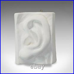 Vintage Ear Sculpture, English, Plaster, Haut Relief, Anatomical Portrait, C20th