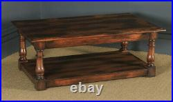 Vintage English 17th Century Style Oak Rectangular Pot Board Side Coffee Table