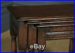 Vintage English 18th Century Georgian Style Nest Three 3 Solid Oak Side Tables
