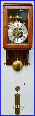 Vintage English 8 Day Strike Weight Driven Skeleton Hooded Regulator Wall Clock