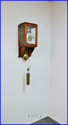 Vintage English 8 Day Strike Weight Driven Skeleton Hooded Regulator Wall Clock