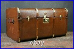 Vintage English Banded Brass Steamer Trunk