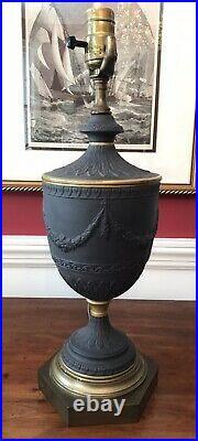 Vintage English Black Basalt Neoclassical Covered Urn Lamp Wedgwood