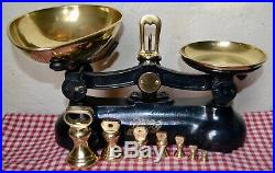 Vintage English Boots Cash Chemists Kitchen Scales Black 7 Brass Bell Weights