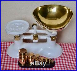 Vintage English Boots Kitchen Scales Soft White 7 Brass Churn Weights On Stand