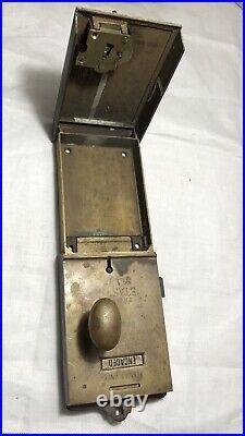 Vintage English Brass Etas No. 1 Toilet Door Lock Penny Slot w Key
