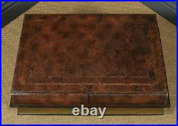 Vintage English Brown Leather Double Book Form Shaped Occasional Coffee Table